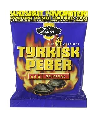 Fazer el original Tyrkisk PEBER (Pimienta Turco) Finnish Salty Regaliz salmiakki Salmiak salmiac Caramel Hard Candy Bag
