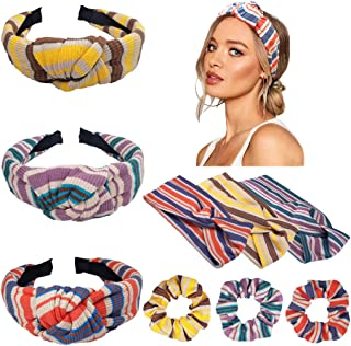 9 Pcs Girls Scrunchies for Hair,3 pcs Womens Yoga Elastic Cute Hairband and 3 pcs Women's Headbands Headwraps Hair Bands Bows Accessories and 3 pcs Hair Scrunchies linen Elastic Hair Ties Scrunchy