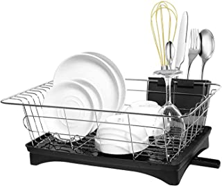 Dish Drying Rack Stainless Steel Dish Drainer Tray Kitchen Rustproof Cultery Cup Utensil Organizer Holder Beside the Sink with Detachable Drainboard - Black