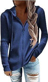 Rosennie Damen Strickjacke Reißverschluss Pullover Strickmantel Damen Herbst Winter Langarm Cardigan Sweatshirts Pullover ...