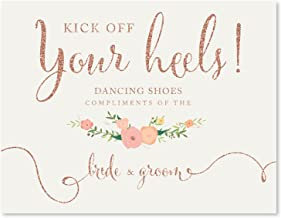 Andaz Press Wedding Party Signs, Faux Rose Gold Glitter with Florals, 8.5x11-inch, Dancing Shoes - Kick Off Your Heels!, 1-Pack, Colored Decorations