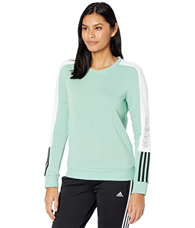 adidas Color-Block Linear Sweatshirt (Hazy Green/Black) Women