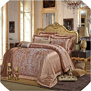 Coffee Blue Luxury Silk Jacquard Cotton Bedding Sets/Bedclothes Queen King Size 4/6 Pcs Duvet Cover Bed Linen Sheet Set Pillow,8,Queen 6Pcs