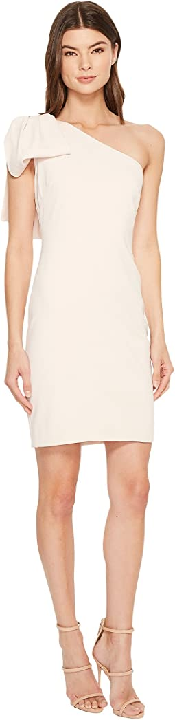Badgley Mischka One Shoulder Dress with Draped Bow Detail