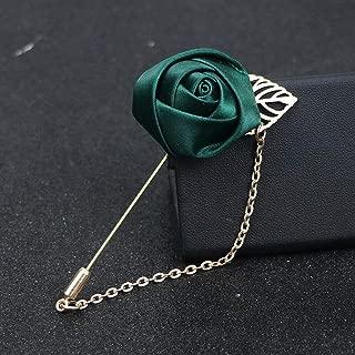 Men Accessories Lapel Flower Handmade Boutonniere Stick Brooch Pin Wedding | Color - Deep Green