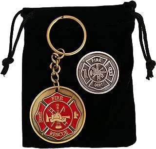 Gifts for Firefighter - Maltese Cross Firefighter Prayer Coin & Fireman Keychain with Black Velvet Gift Pouch
