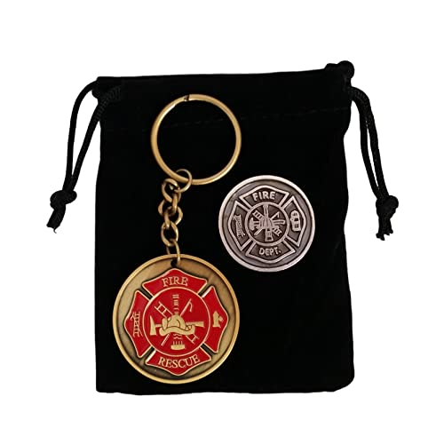 Gifts for Firefighter - Maltese Cross Firefighter Prayer Coin & Fireman Keychain with Black Velvet Gift