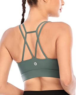 RUNNING GIRL Padded Strappy Sports Bras for Women, Medium Support Yoga Bra Workout Gym Activewear