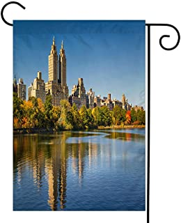 BEISICC Cityscape Garden Flag,Welcome Double Sided Polyester Garden Flag,Central Park Reservoir Fall Foliage and Upper Wes...