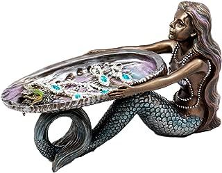 Ebros Gift Mermaid Holding Abalone Shell Platter Jewelry Dish Figurine 9
