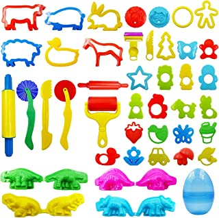 FRIMOONY Play Dough Tools Set for Kids, Various Plastic Animal Molds, Clay Rolling Pins, for Creative Dough Cutting, 44 Pi...