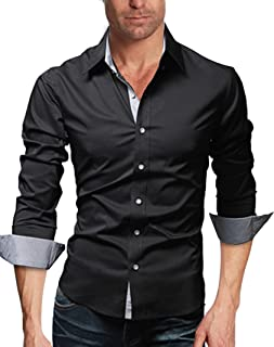 WSLCN メンズ スリムフィット 長袖 カジュアル シャツ ワイシャツ 上品 形態安定 オシャレ 折り返し袖 人気 通勤 スリム ボタンダウン 着回し 純色 無地 ビジなす フォーマル