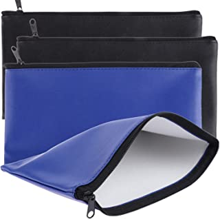 Tongnian Bank Bag Money Pouch Leatherette Security Deposit Bags Utility Zipper Bags for Cash Money,Check Wallet,Cosmetics,Tools, 11x6 inch 4 Pack (Black + Blue)