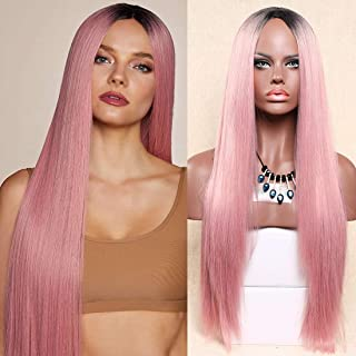 Aoert Ombre Long Straight Wig for Women Heat Resistant Synthetic Wig Cosplay Hair Replacement Wigs for Party, Prom - Natural Looking Machine Made Full Middle Part Wig 28inch (Pink)