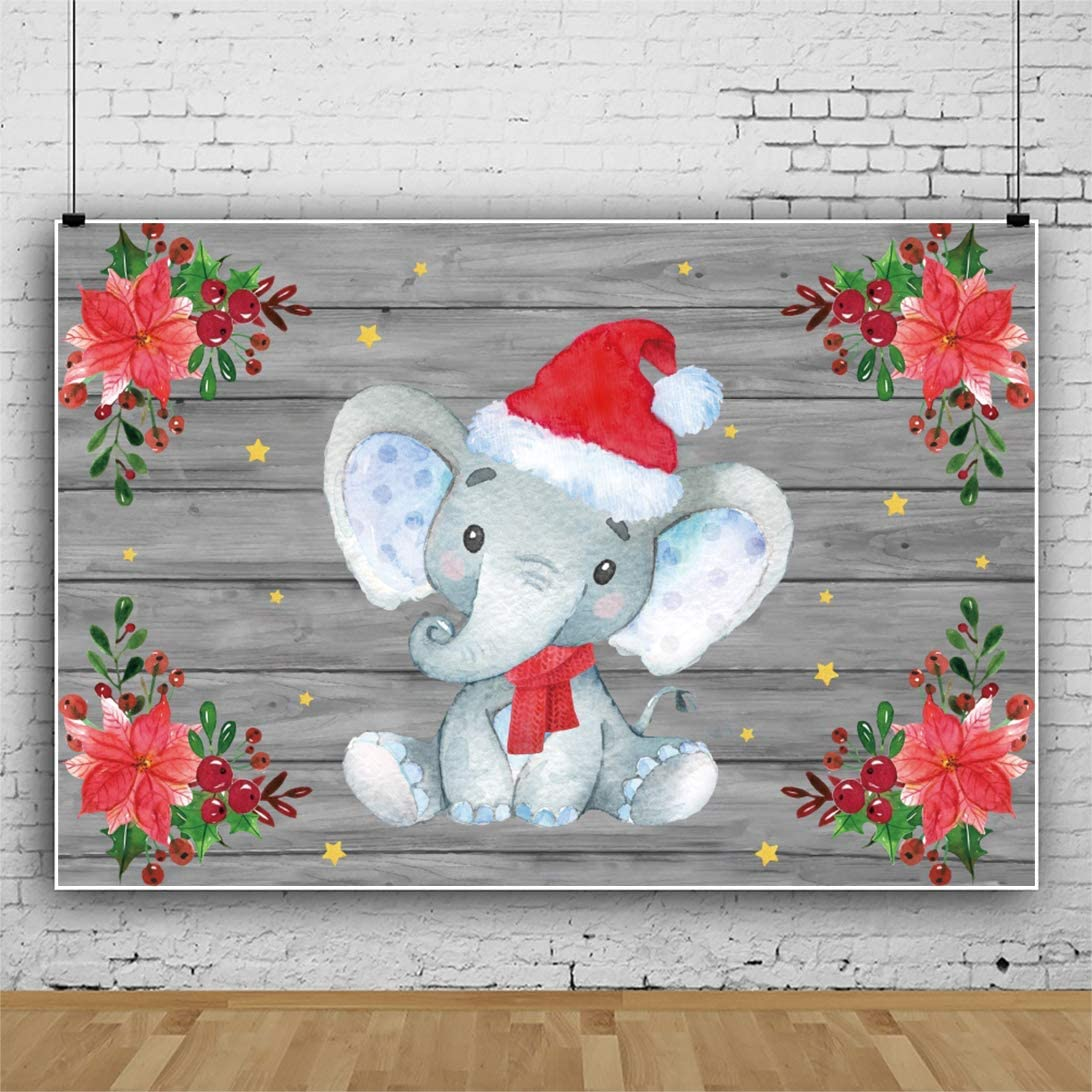 OERJU 7x5ft Vintage Woodboard Elephant Baby Shower Backdrop Maple Leaf Fruits Merry Christmas Background for Photography Happy Xmas Party Banners Baby Kids Portrait Photo Props Xmas Events Props