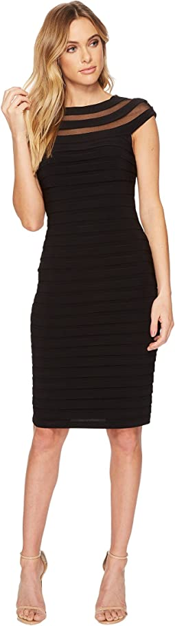 Adrianna Papell - Matte Jersey Banded Pintucked Dress