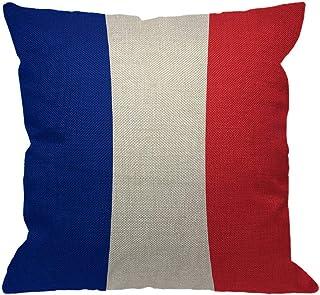 フランスの旗投げ枕カバー、ヨーロッパのフランスの旗の愛国心が強い旗の青白赤の装飾的な枕は家のソファーのソファ、45X45 CMのための綿の麻布の正方形のクッションカバーを包装します