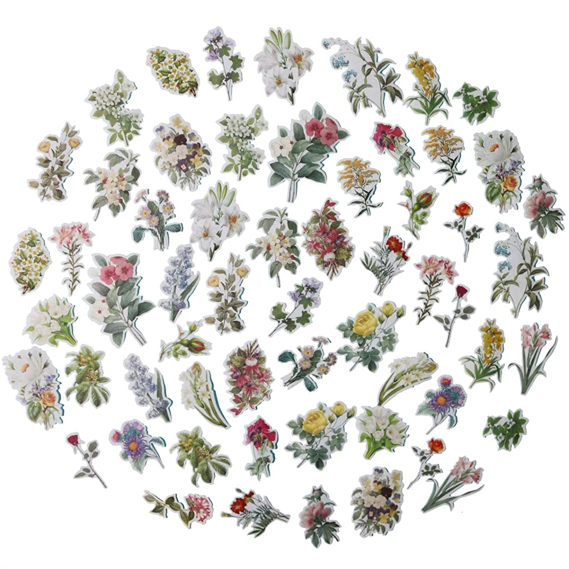 Super Cute 60pcs Watercolor Flowers Bloom Plants Stickers for Your Laptop, Water Bottle, and Scrapbook (Flowers Bloom)