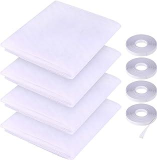 FEPITO 4-częściowy zestaw ulepszona moskitiera do okien, siatka przeciw owadom siatka przeciw owadom 1,3 m * 1,5 m ochrona...