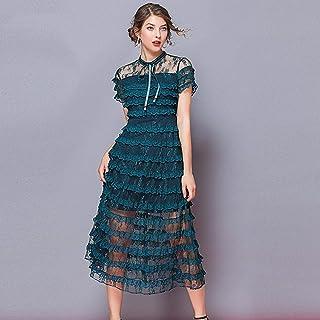 BAYFDHGHJI, Vestido Largo de Encaje a la Moda Retro para Mujer Vestido de Fiesta con Volantes de múltiples Capas de Retazos de Malla de Encaje magnífico Vestido de Fiesta Maxi