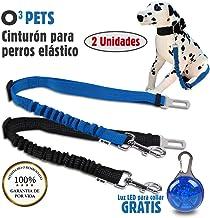 O³ PETS Cinturon Perro Coche Homologado 2 Unidades Elásticos con Luz LED para Collar   Cinturón De Seguridad De Coche para Perro - Correa Antitirones Perro Ajustable – Más Comodidad para Tu Perro