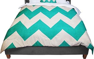 88 X 88 KESS InHouse KESS Original Candy Cane Green Chevron Queen Comforter