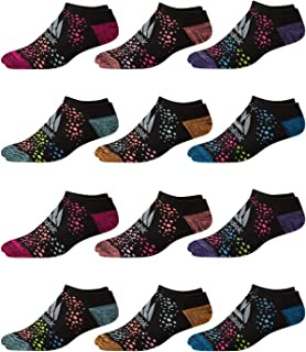 Reebok Girl's Cushioned Comfort No-Show Ankle Low Cut Socks (12 Pack)