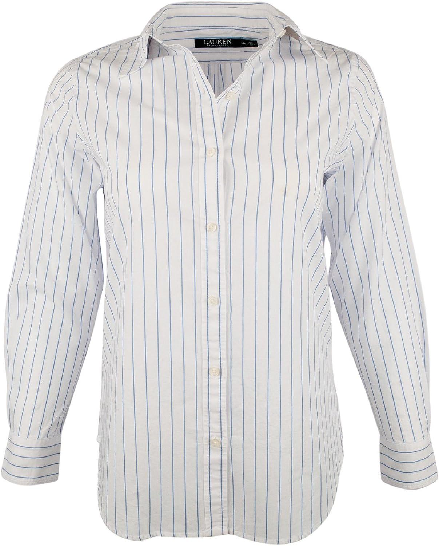 Lauren Ralph Lauren Women's Petite Striped Long Sleeve Shirt White