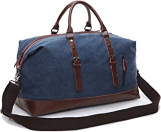 Weekender Bag Genuine Leather Canvas Satchel Duffel Tote Bags for Men and Women(Blue) Fresion
