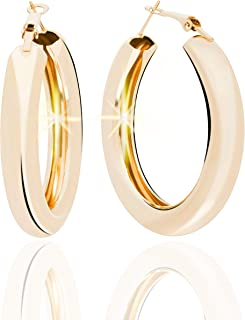 Extra Large THICK GOLD HOOP EARRINGS for Women 18k Gold Plated, Light Weight 2 Inch - 5cm   Statement Open Chunky Hoops   Big & Thick Gold Hoop Earring for Women by DonnaB