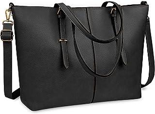 NUBILY Laptop Damen Handtasche 15,6 Zoll Shopper Handtasche Schwarz Elegant Leder Taschen Große Leichte Elegant Stilvolle Frauen Handtasche für Business/Schule/Einkauf
