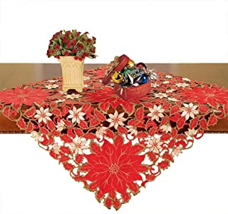 Simhomsen Small Christmas Holiday Embroidered Poinsettia Tablecloth Square 33 × 33 Inch, Toppers, Tablecovers for End Table, Tea Table, Coffee Table and Nightstand