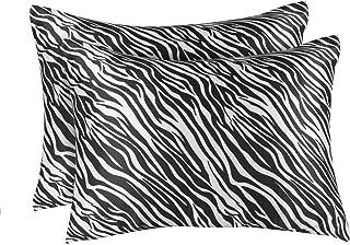 ShopBedding Luxury Satin Pillowcase for Hair – Standard Satin Pillowcase with Zipper, Black Zebra Print (Pillowcase Set of...