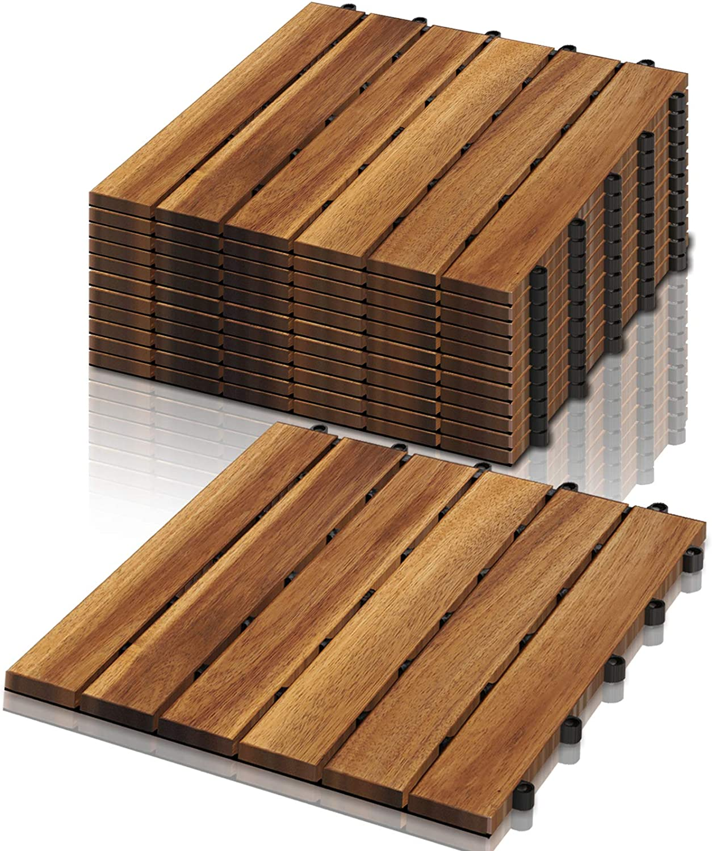 VINGO Holzfliesen, 20m² Bodenbelag aus Akazienholz 200x200cm ...