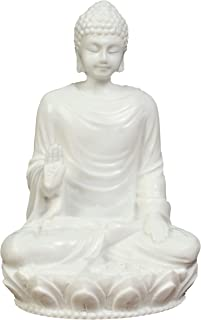 JB Premium 3in Buddha Statue/Idol/Decorative Figurine: Poly Marble with White Marble Finish. Premium Quality Buddha Idol in Meditation Pose. Serene Small Buddha Statue. Buddha Décor for Good Luck.