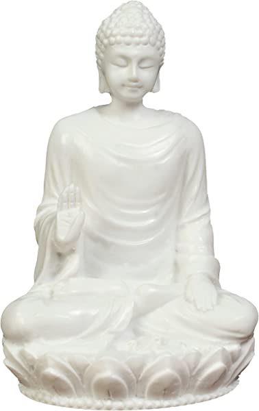 JB Premium 3in Buddha Statue Idol Decorative Figurine Poly Marble With White Marble Finish Premium Quality Buddha Idol In Meditation Pose Serene Small Buddha Statue Buddha D Cor For Good Luck