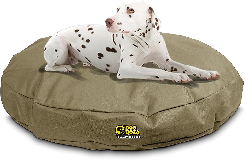 Dog Doza Round Waterproof 100% Memory Foam Crumb Orthopaedic Beds (Size 185cm x 85cm, Beige)