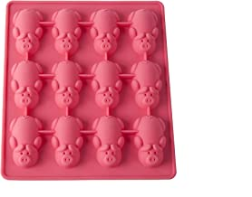 Mobi 12 Little Pigs in a Blanket Silicone Baking Mold, Pink