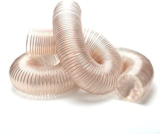 4-Inch x 10-Feet Clear Dust Collection PU Hose with Copper Wire Reinforcement, Puncture Resistant, Flexible and Antistatic Dust