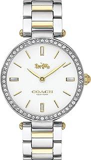 ساعة بمينا ابيض وسوار ستانلس ستيل بلونين للنساء من كوتش - 14503095