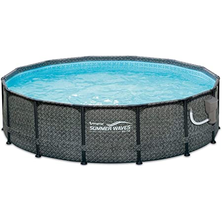 Amazon Com Summer Waves P2001448e14ft X 48in Outdoor Round Frame Above Ground Swimming Pool Set With Ladder Skimmer Filter Pump And Filter Cartridge Gray Garden Outdoor
