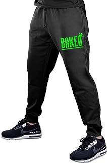 06fc4ab451 Baked Weed Leaf V358 Men's Black Fleece Gym Jogger Sweatpants