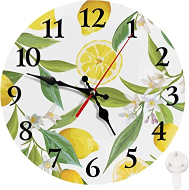 Britimes Round Wall Clock Silent Non-Ticking Clock 10 Inch, Vintage Farmhouse Wood Home Decor for for Living Room, Kitchen, B