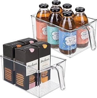 mDesign bac de rangement pour cuisine (lot de 2) – bac alimentaire ouvert en plastique avec poignée intégrée – rangement d...