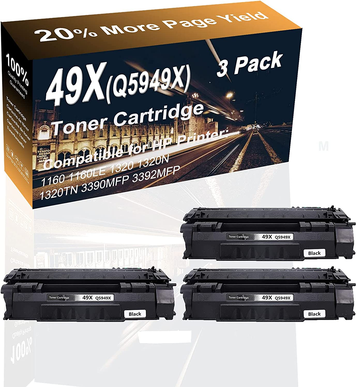 3-Pack (Black) Compatible High Capacity 49X (Q5949X) Laser Printer Toner Cartridge use for HP 1160, 1160LE, 1320 Printer