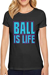 ZWEN Women's Ball is Life Novelty Cotton T-Shirts