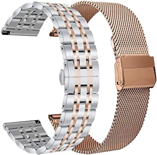 Koreda Compatible with Samsung Galaxy Watch 42mm/Galaxy Watch 4/Galaxy Watch 4 Classic/Galaxy Watch 3 41mm Bands Sets, 20mm Stainless Steel Metal + Mesh Band Replacement for Galaxy Watch Active 2