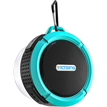 Bluetooth Shower Speaker, VicTsing C6 Waterproof Bluetooth Speaker with 6H Playtime, Loud HD Sound, Portable Outdoor Speaker with Suction Cup & Sturdy Hook for Pool Beach Home Party Travel, Blue