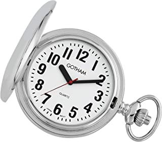 Gotham Men's Silver-Tone Low Vision Bold Number Polished Finish Covered Quartz Pocket Watch # GWC15045S