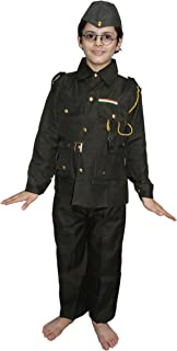 Kaku Fancy Dresses National Hero/Freedom Figter Subhash Chandra Bose Costume -Green, 7-8 Years, for Boys